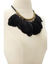 Forever 21 - Black Feather Statement Necklace - Lyst
