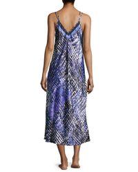 Oscar de la Renta - Blue -Print Charmeuse Long Gown - Lyst