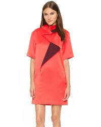 KENZO | Pink Cowl Neck Colorblock Dress - Coral Red | Lyst