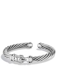 David Yurman | Metallic Cable Buckle Cuff With Diamonds | Lyst