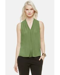 Vince Camuto | Green Pleat Front V-neck Blouse | Lyst