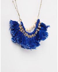 Mango | Blue Tassel Necklace | Lyst