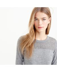 J.Crew | Gray Embellished Tippi Sweater In Glen Plaid | Lyst