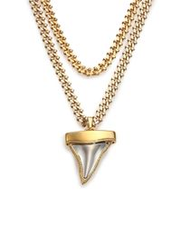 Givenchy | Metallic Double-chain Shark Tooth Pendant Necklace/goldtone | Lyst