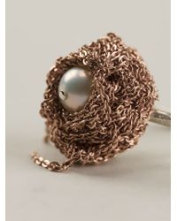 Arielle De Pinto | Pink Chained Pearl Ring | Lyst