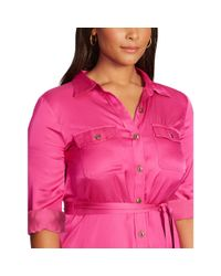 Ralph Lauren - Pink Belted Long-sleeved Shirtdress - Lyst