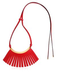 Marni - Red Fringed Leather Necklace - Lyst
