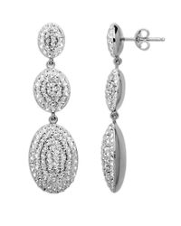 Lord & Taylor | Metallic Sterling Silver White Pave Crystal Drop Earrings | Lyst