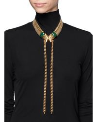 Ela Stone - Metallic Chain Stone Leopard Head Necklace - Lyst