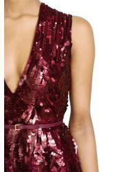 Elie Saab - Purple Hand Sequined Silk Georgette Dress - Lyst