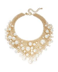 Kenneth Jay Lane | Metallic Faux Pearl Bib Necklace | Lyst