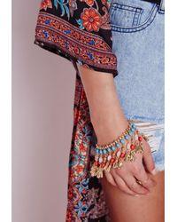 Missguided - Bead Detail Bracelet Gold Blue - Lyst