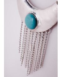 Missguided | Blue Waterfall Chain Stone Detail Necklace Silver | Lyst