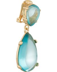 Kenneth Jay Lane - Blue Gold-tone Cabochon Earrings - Lyst