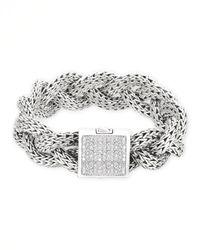John Hardy - Metallic Diamond & Sterling Silver Bracelet for Men - Lyst