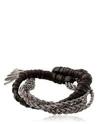Emanuele Bicocchi | Metallic Woven Leather Sterling Silver Bracelet for Men | Lyst