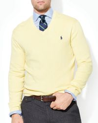 Ralph Lauren - Yellow Polo Pima Cotton V-Neck Sweater for Men - Lyst