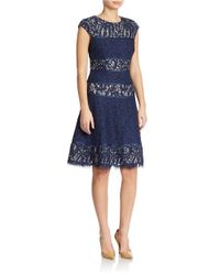 Alex Evenings | Blue Lace Panel Dress | Lyst