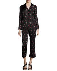 Piamita - Black Annabelle Silk Cherry Print Pajama Shirt - Lyst