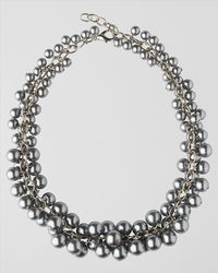 Jaeger - Metallic Pearl Cluster Collar Necklace - Lyst