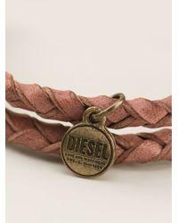 DIESEL - Brown Double Braided Bracelet - Lyst