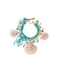Betsey Johnson | Blue Shell Shocked Shell Skinny Toggle Bracelet | Lyst