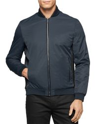 Calvin Klein | Blue Ribbed-trim Lightweight Jacket for Men | Lyst