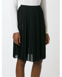 63b831b6d DKNY Sheer Pleated Skirt in Black - Lyst
