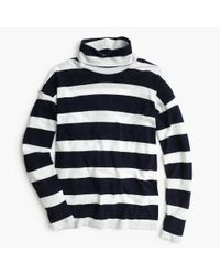 J.Crew | Blue Oversized Striped Turtleneck | Lyst