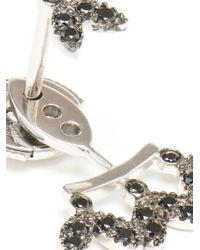 Yvonne Léon - Black Diamond Leaf Stud Earring - Lyst