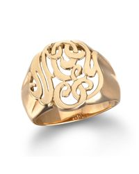 Ginette NY | Metallic Lace Monogram Ring, Rose Gold | Lyst