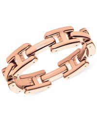 Tommy Hilfiger | Pink Rose Gold-Tone H Logo Link Bracelet | Lyst
