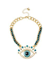 Betsey Johnson - Metallic Goldtone Eye Frontal Necklace - Lyst