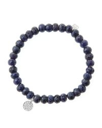 Sydney Evan - Blue 6Mm Faceted Sapphire Beaded Bracelet With Mini White Gold Pave Diamond Disc Charm (Made To Order) - Lyst