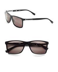BOSS - Brown 57mm Wayfarer Sunglasses - Lyst