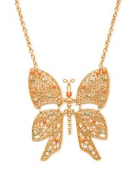 Forever 21 - Metallic Beaded Butterfly Pendant Necklace - Lyst