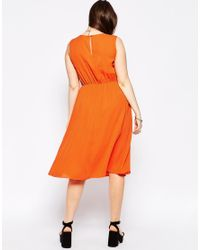ASOS - Orange Curve Sleeveless Dress With Pleat Detail - Lyst