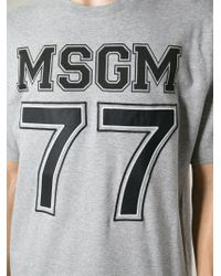 MSGM - Gray Logo-Print T-Shirt for Men - Lyst