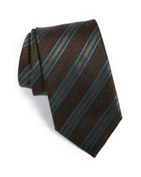 Brioni | Brown Stripe Silk Tie for Men | Lyst