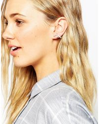 ASOS - Metallic Mismatch Ear Wire And Wishbone Stud Pack - Lyst