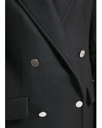 Mango - Black Double-Breasted Wool-Blend Coat - Lyst