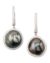 Eli Jewels - Metallic Gray South Sea Pearl And Diamond Framed Drop Earrings - Lyst