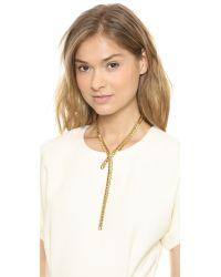 Fallon - Metallic Classique Lariat Necklace Gold - Lyst