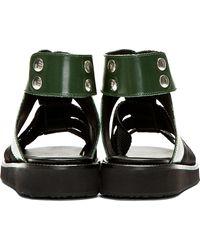 Kris Van Assche - Green Buff Leather and Grosgrain Sandals for Men - Lyst