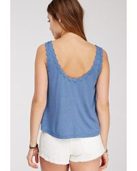 Forever 21 | Blue Crocheted Daisy-trimmed Top | Lyst