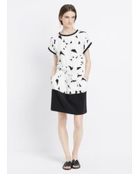 Vince | White Geometric-Print Silk Dress  | Lyst
