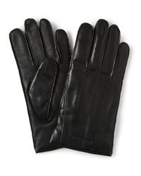Burberry | Black Touch Screen Cashmere Lined Leather Gloves for Men | Lyst