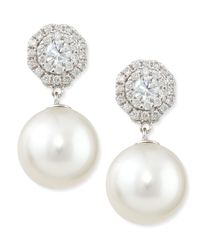 Belpearl | Metallic Whispering Diamond Stud Earrings With Pearl Drops | Lyst