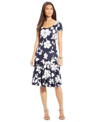 Lauren by Ralph Lauren | Blue Floral-Print Drop-Waist Dress | Lyst