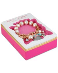Betsey Johnson - Metallic Rose Gold-tone Owl Charm And Faceted Bead Stretch Bracelet - Lyst